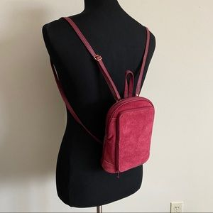 Red suede backpack purse